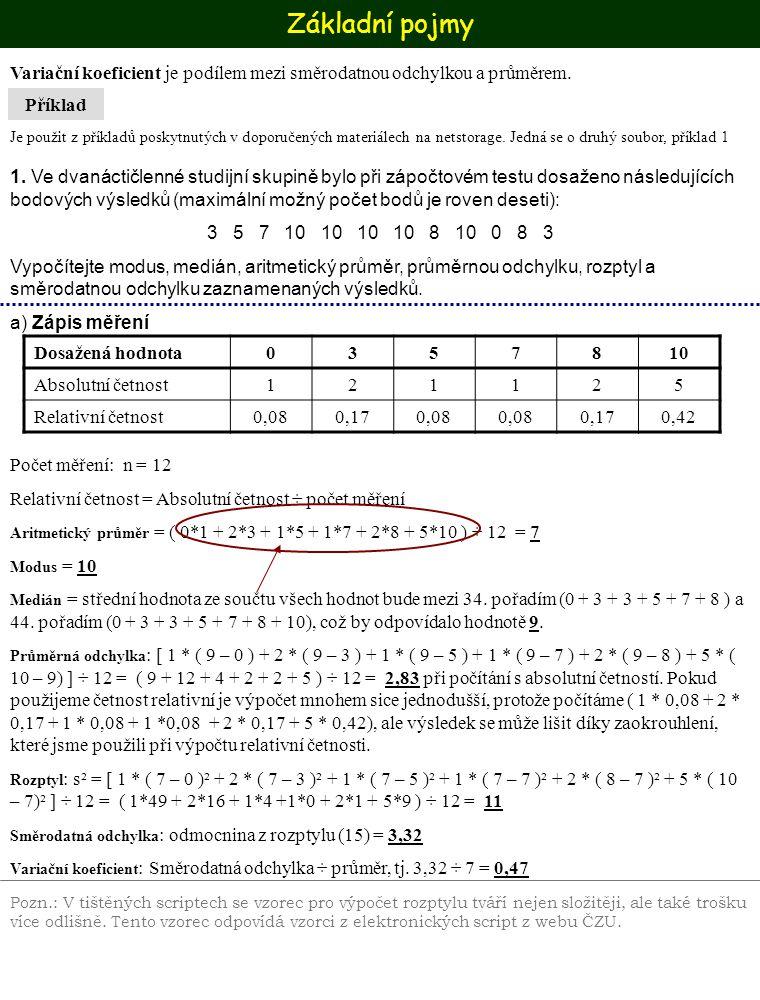 Základní pojmy Příklad Variační koeficient je podílem mezi směrodatnou odchylkou a průměrem. Je použit z příkladů poskytnutých v doporučených materiál