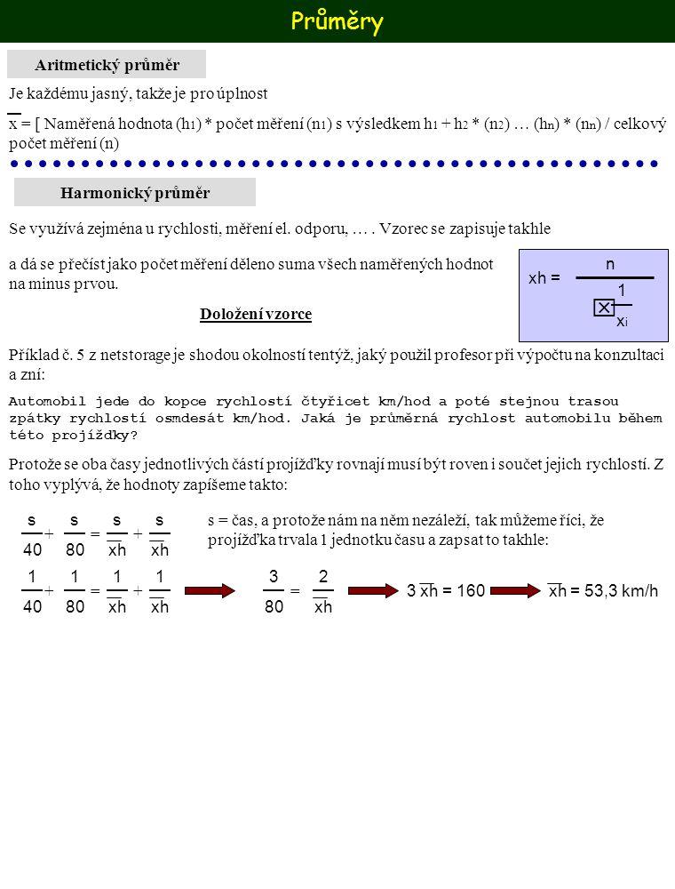 Průměry Harmonický průměr Aritmetický průměr Je každému jasný, takže je pro úplnost x = [ Naměřená hodnota (h 1 ) * počet měření (n 1 ) s výsledkem h