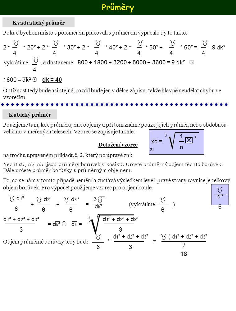 Průměry Kvadratický průměr Pokud bychom místo s poloměrem pracovali s průměrem vypadalo by to takto: 44 44 44 44 44 44 2 * * 20² + 2 * * 3