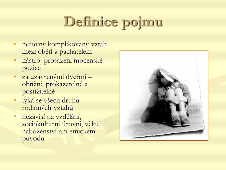 Definice pojmu •nerovný komplikovaný vztah mezi obětí a pachatelem •nástroj prosazení mocenské pozice •za uzavřenými dveřmi – obtížně prokazatelné a p
