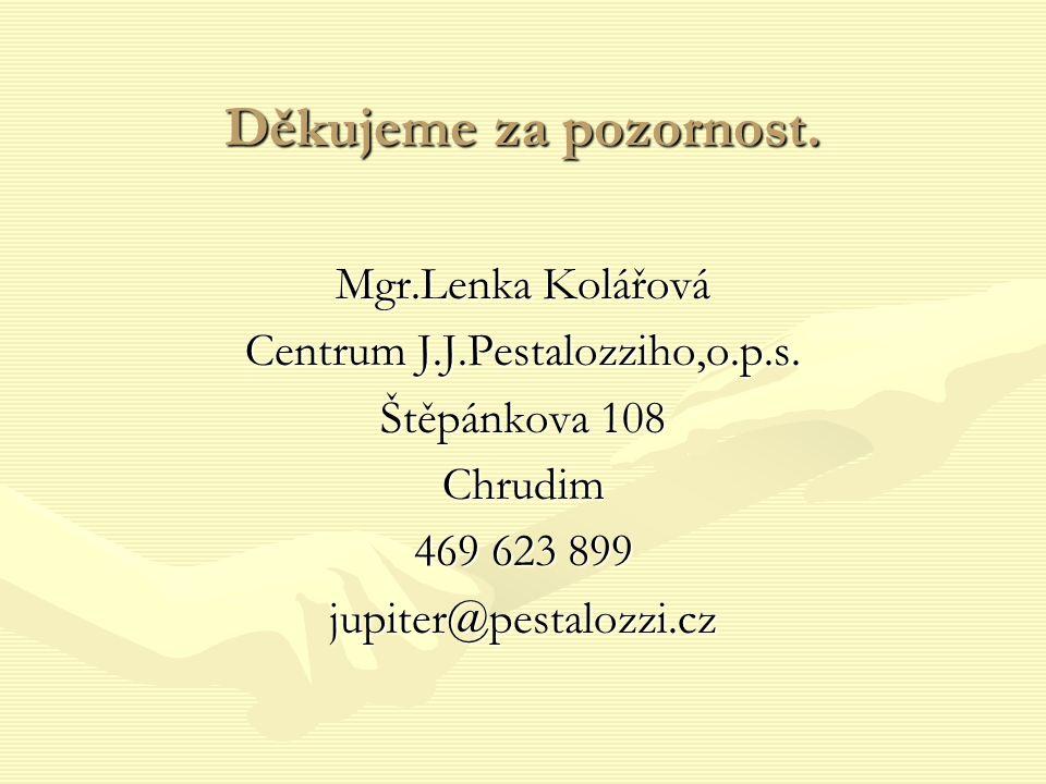 Děkujeme za pozornost. Mgr.Lenka Kolářová Centrum J.J.Pestalozziho,o.p.s. Štěpánkova 108 Chrudim 469 623 899 jupiter@pestalozzi.cz