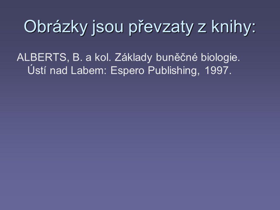 Obrázky jsou převzaty z knihy: ALBERTS, B.a kol. Základy buněčné biologie.