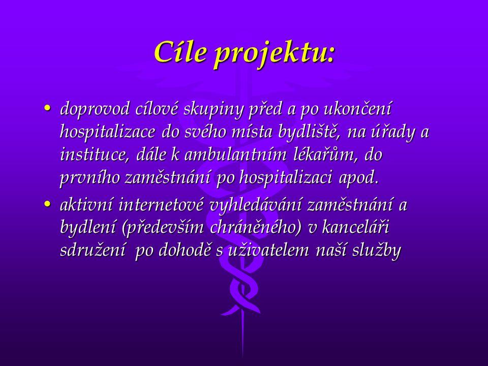 Cíle projektu: • doprovod cílové skupiny před a po ukončení hospitalizace do svého místa bydliště, na úřady a instituce, dále k ambulantním lékařům, d