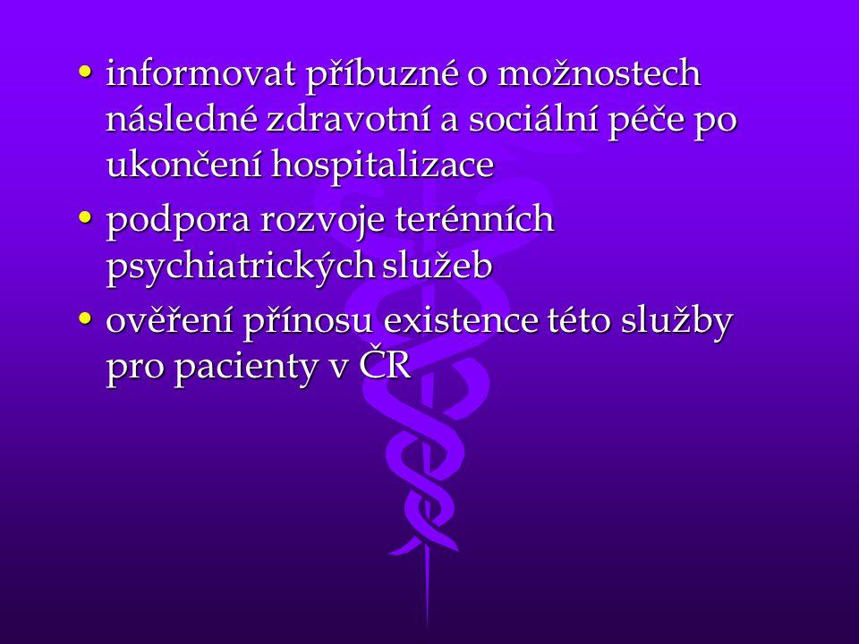 •informovat příbuzné o možnostech následné zdravotní a sociální péče po ukončení hospitalizace •podpora rozvoje terénních psychiatrických služeb •ověř