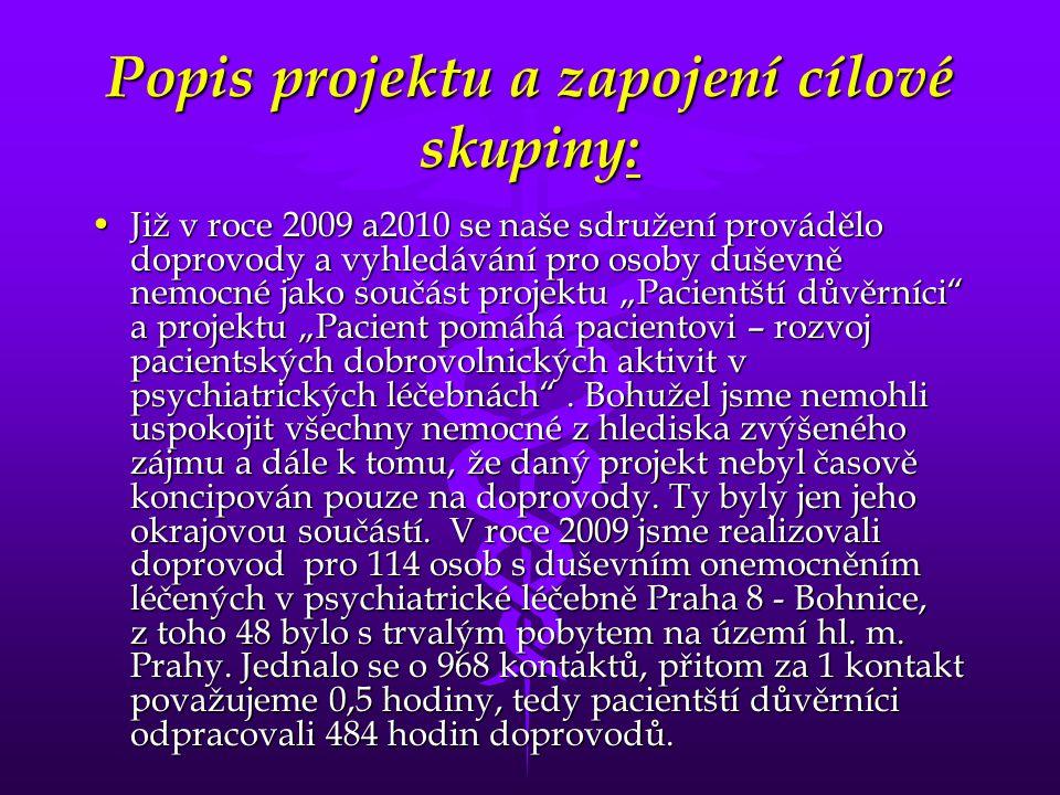 Popis projektu a zapojení cílové skupiny: •Již v roce 2009 a2010 se naše sdružení provádělo doprovody a vyhledávání pro osoby duševně nemocné jako sou