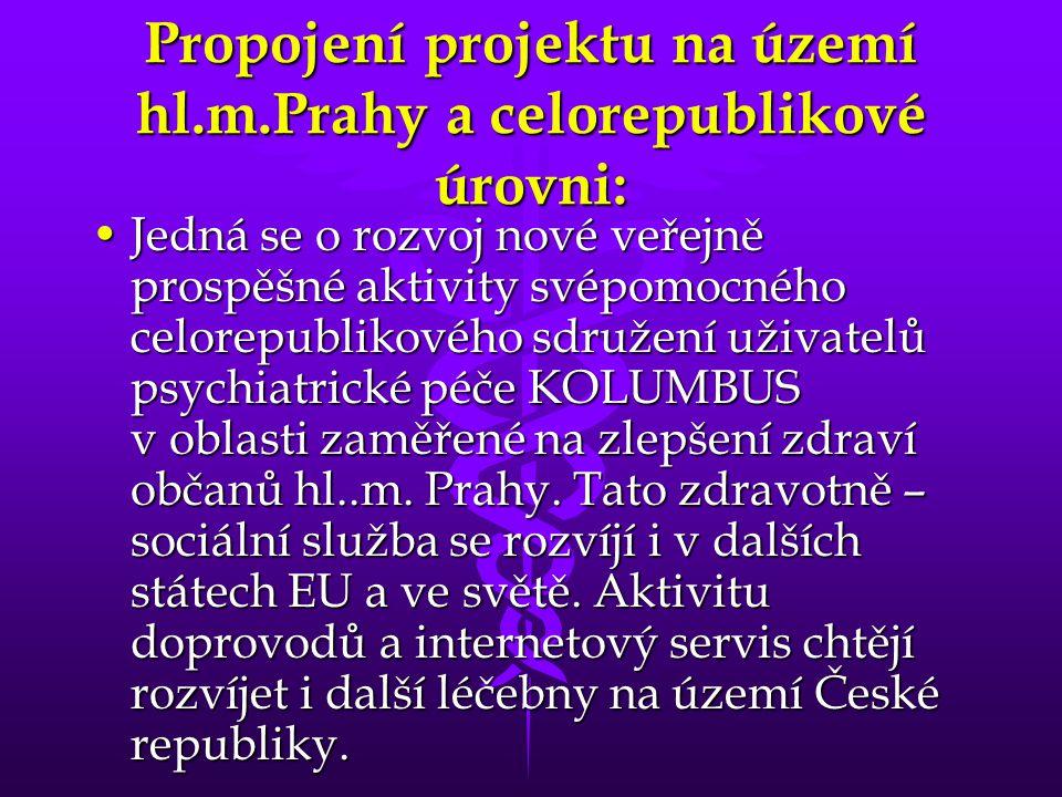 Propojení projektu na území hl.m.Prahy a celorepublikové úrovni: •Jedná se o rozvoj nové veřejně prospěšné aktivity svépomocného celorepublikového sdr