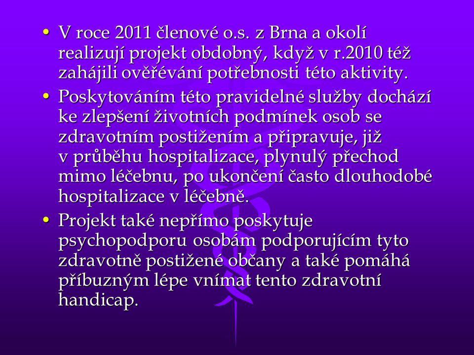 •V roce 2011 členové o.s. z Brna a okolí realizují projekt obdobný, když v r.2010 též zahájili ověřévání potřebnosti této aktivity. •Poskytováním této