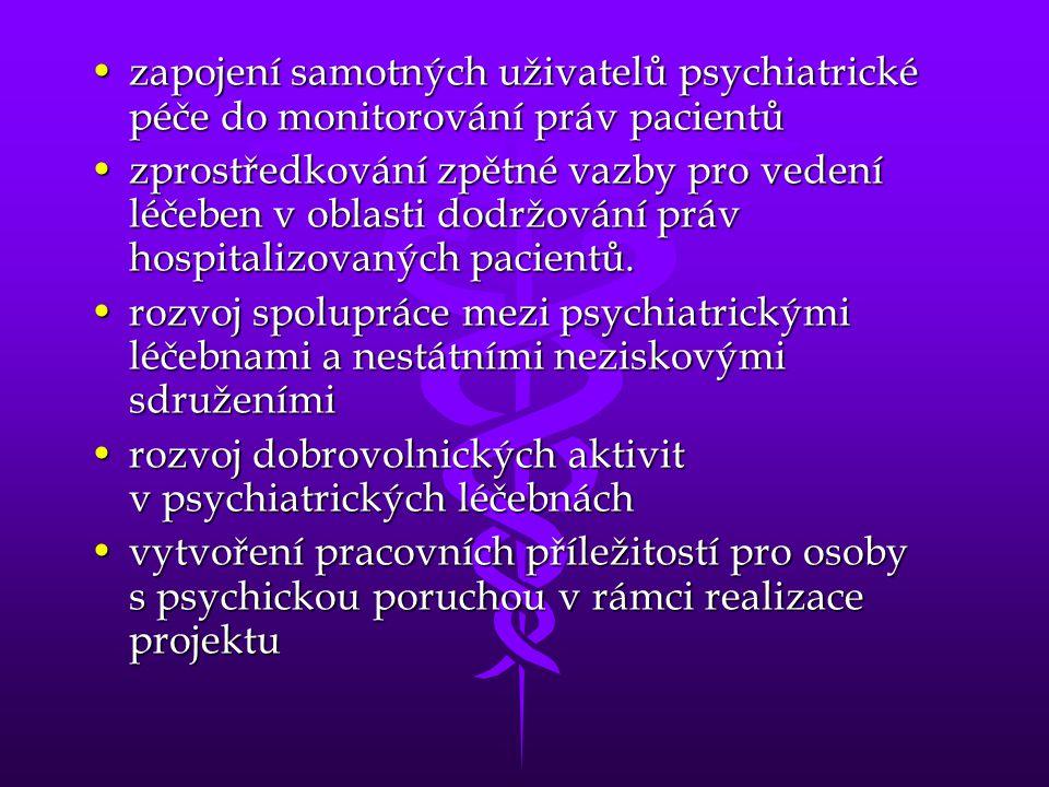 •zapojení samotných uživatelů psychiatrické péče do monitorování práv pacientů •zprostředkování zpětné vazby pro vedení léčeben v oblasti dodržování p
