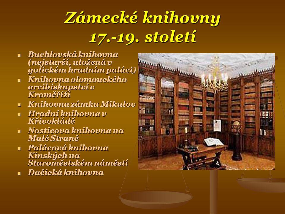 Zámecké knihovny 17.-19.