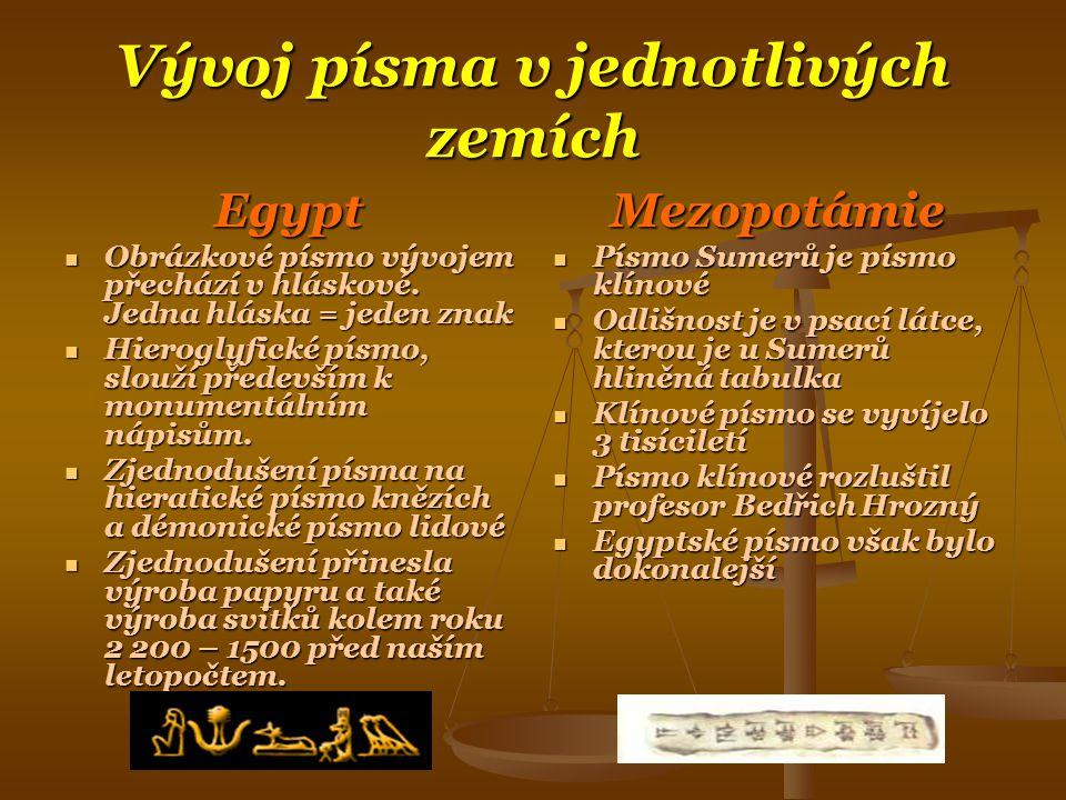 Vývoj písma v jednotlivých zemích Egypt  Obrázkové písmo vývojem přechází v hláskové.