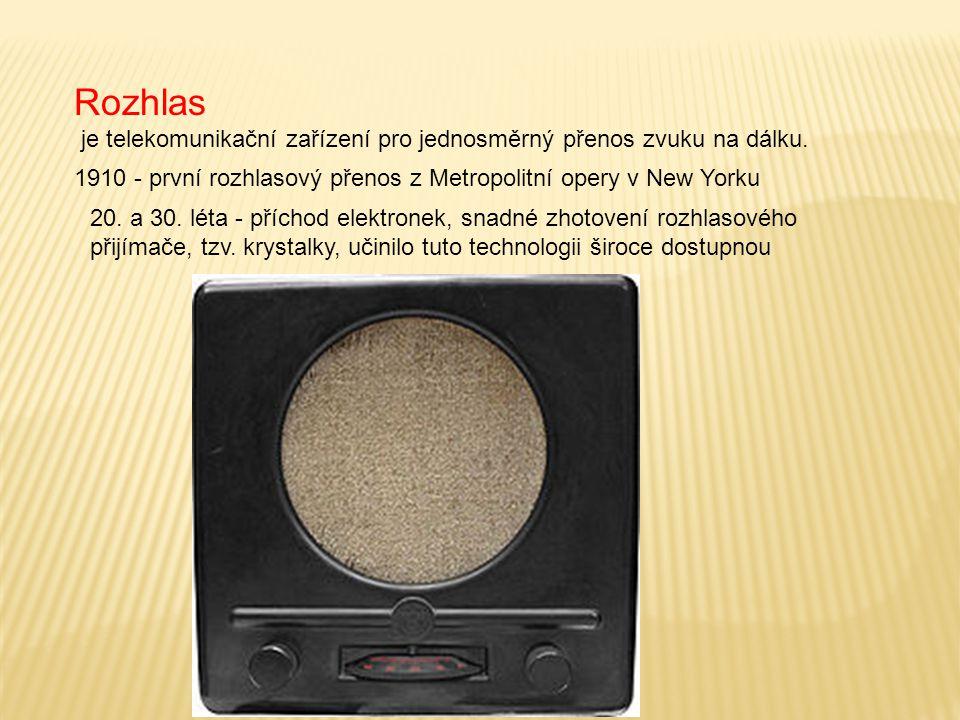Rozhlas je telekomunikační zařízení pro jednosměrný přenos zvuku na dálku. 20. a 30. léta - příchod elektronek, snadné zhotovení rozhlasového přijímač