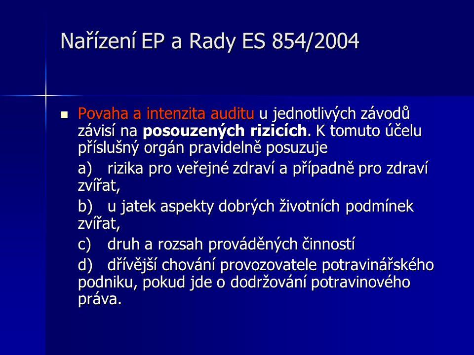 Nařízení EP a Rady ES 854/2004  Povaha a intenzita auditu u jednotlivých závodů závisí na posouzených rizicích.