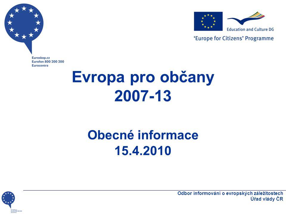 Odbor informování o evropských záležitostech Úřad vlády ČR Rozpočet 2010 Akce 1/1.1.: 7 000 000 EUR Akce 1/1.2.: 5 165 000 EUR Akce 1/2.1.: 1 500 000 EUR Akce 1/2.2.: 1 535 000 EUR Akce 2/ 3: 3 400 000 EUR Akce 4: 1 800 000 EUR