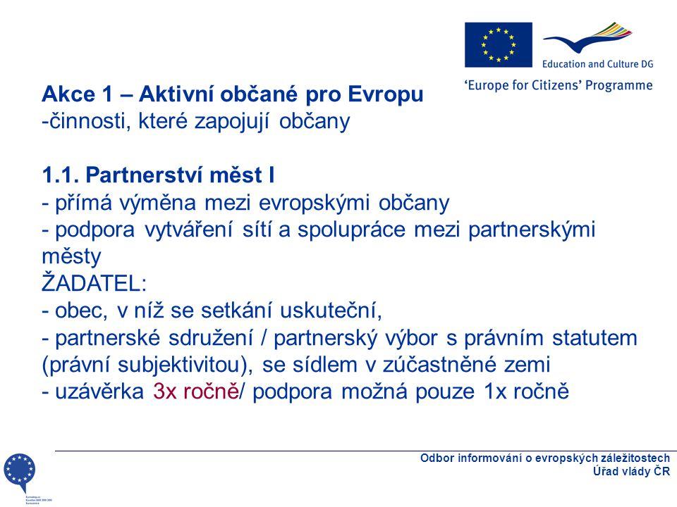 Odbor informování o evropských záležitostech Úřad vlády ČR Akce 1 – Aktivní občané pro Evropu -činnosti, které zapojují občany 1.1.