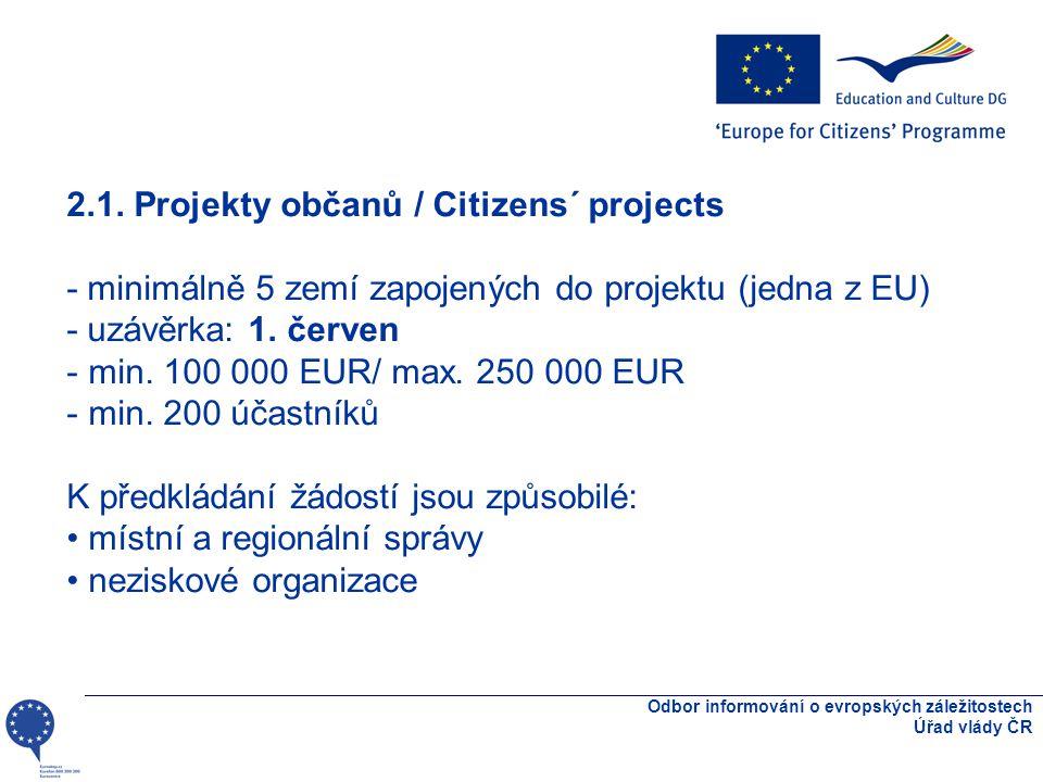 Odbor informování o evropských záležitostech Úřad vlády ČR 2.1.