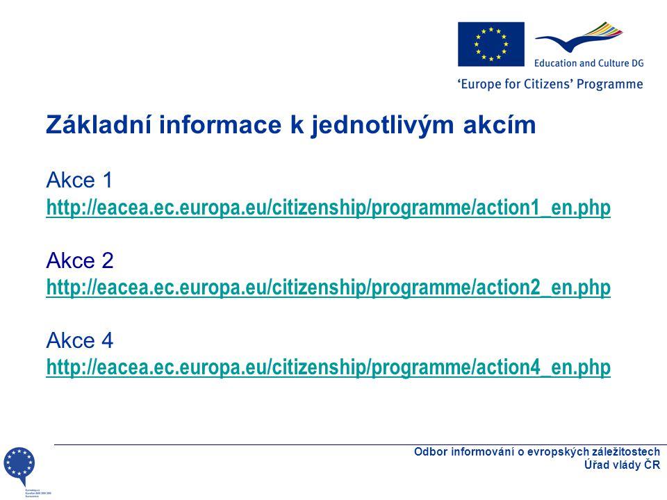 Odbor informování o evropských záležitostech Úřad vlády ČR Základní informace k jednotlivým akcím Akce 1 http://eacea.ec.europa.eu/citizenship/programme/action1_en.php http://eacea.ec.europa.eu/citizenship/programme/action1_en.php Akce 2 http://eacea.ec.europa.eu/citizenship/programme/action2_en.php Akce 4 http://eacea.ec.europa.eu/citizenship/programme/action4_en.php