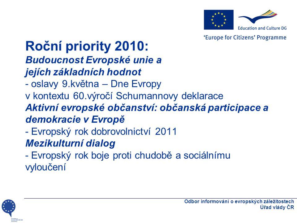 Roční priority 2010: Blahobyt lidí v Evropě: zaměstnanost, sociální soudržnost a udržitelný rozvoj - dopady a východiska z ekonomické krize Účinky politik EU ve společnostech - podíl občanské společnosti na šíření informací a hodnocení dopadů http://eacea.ec.europa.eu/citizenship/guide/priorities_en.htm http://eacea.ec.europa.eu/citizenship/guide/priorities_en.htm Odbor informování o evropských záležitostech Úřad vlády ČR