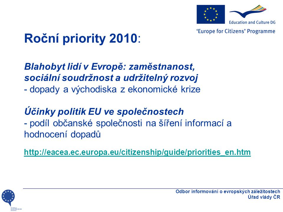 Akce/programové osy podpory I: Akce 1 - Aktivní občané pro Evropu Akce 2 - Aktivní občanská společnost v Evropě Akce 3 - Společně pro Evropu * Akce 4 - Aktivní evropská paměť Odbor informování o evropských záležitostech Úřad vlády ČR