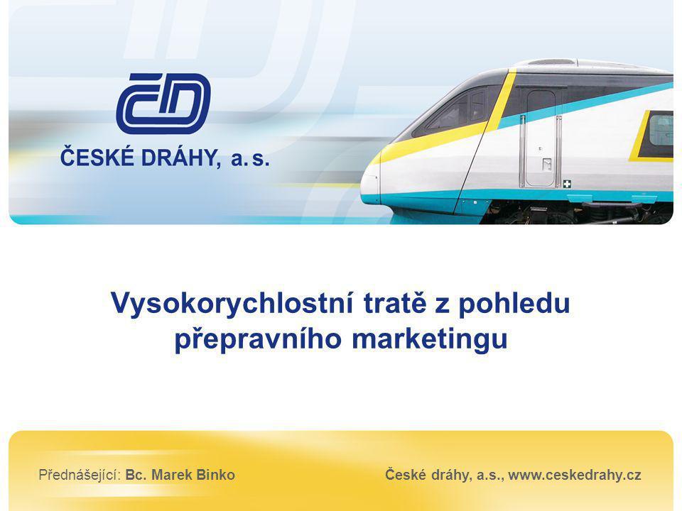 Přednášející: Bc. Marek BinkoČeské dráhy, a.s., www.ceskedrahy.cz Vysokorychlostní tratě z pohledu přepravního marketingu