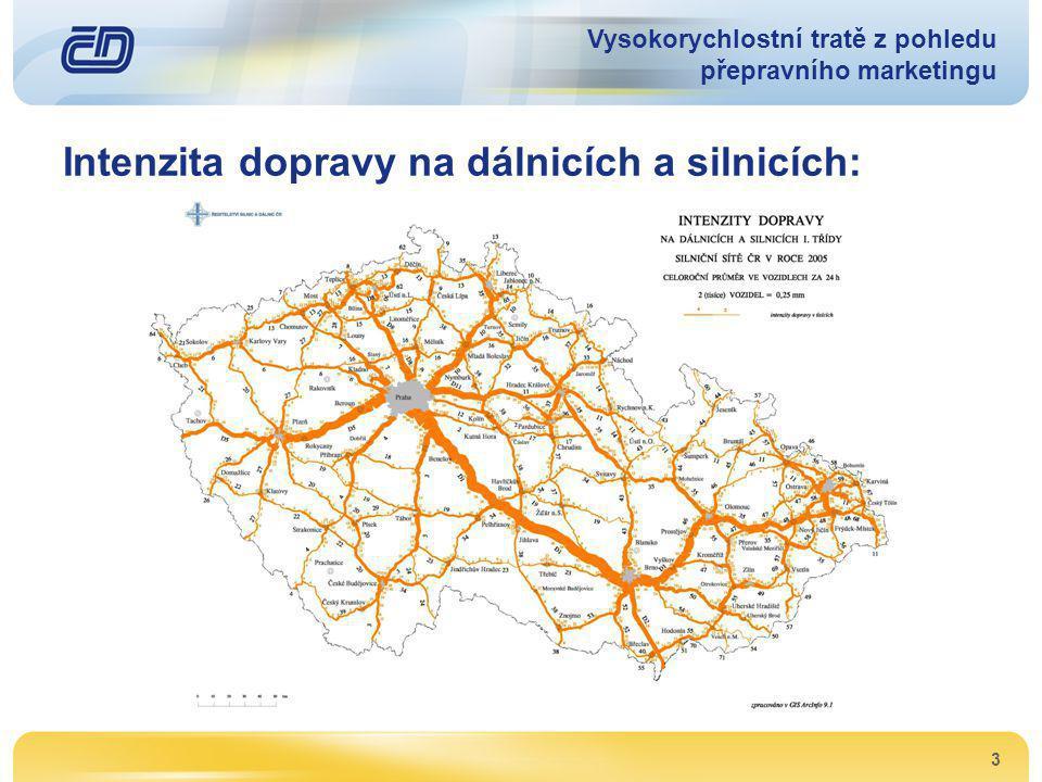 3 Intenzita dopravy na dálnicích a silnicích: Vysokorychlostní tratě z pohledu přepravního marketingu
