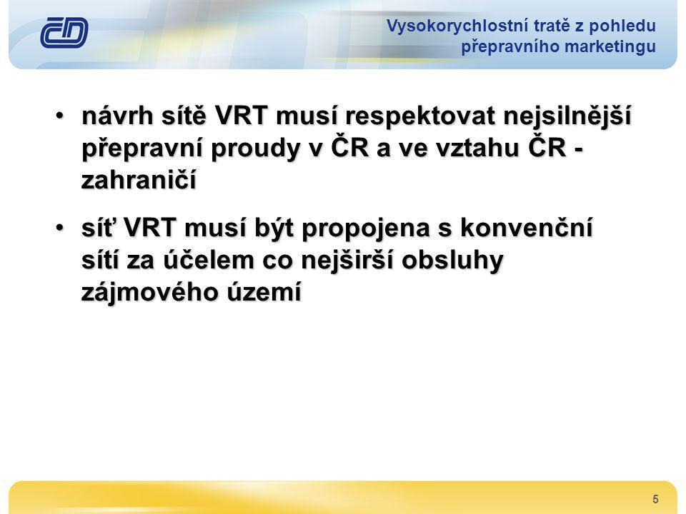 5 •návrh sítě VRT musí respektovat nejsilnější přepravní proudy v ČR a ve vztahu ČR - zahraničí •síť VRT musí být propojena s konvenční sítí za účelem