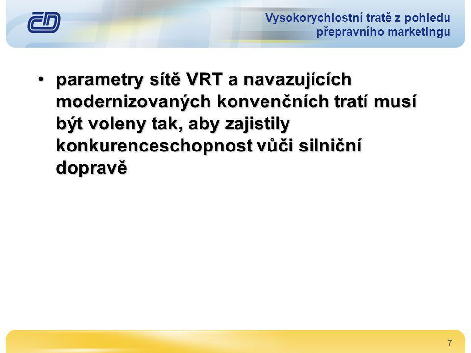 7 •parametry sítě VRT a navazujících modernizovaných konvenčních tratí musí být voleny tak, aby zajistily konkurenceschopnost vůči silniční dopravě Vy