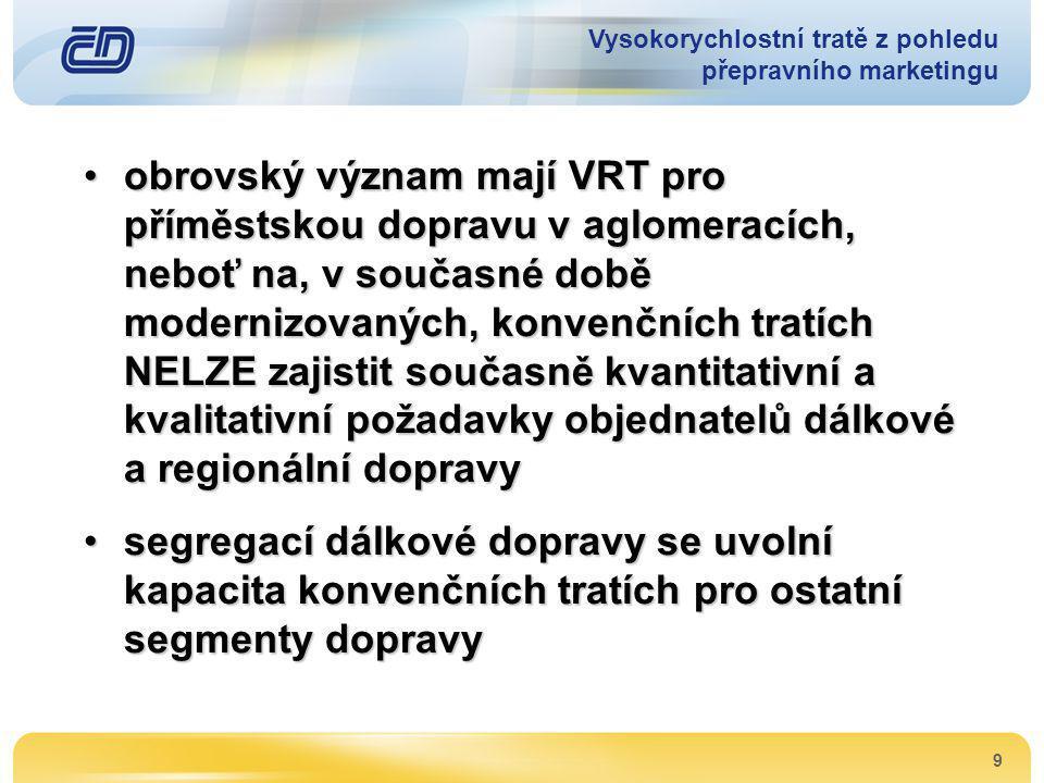 9 •obrovský význam mají VRT pro příměstskou dopravu v aglomeracích, neboť na, v současné době modernizovaných, konvenčních tratích NELZE zajistit souč