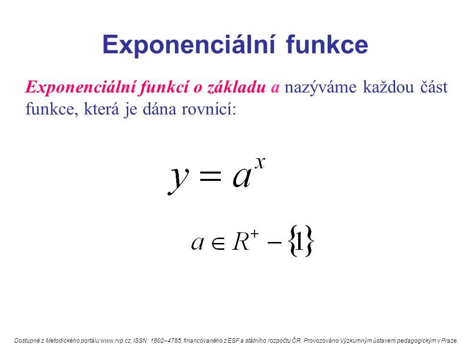 Exponenciální funkce Exponenciální funkcí o základu a nazýváme každou část funkce, která je dána rovnicí: Dostupné z Metodického portálu www.rvp.cz, ISSN: 1802–4785, financovaného z ESF a státního rozpočtu ČR.