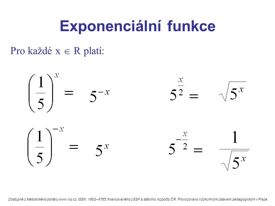Exponenciální funkce Pro každé x  R platí: Dostupné z Metodického portálu www.rvp.cz, ISSN: 1802–4785, financovaného z ESF a státního rozpočtu ČR. Pr