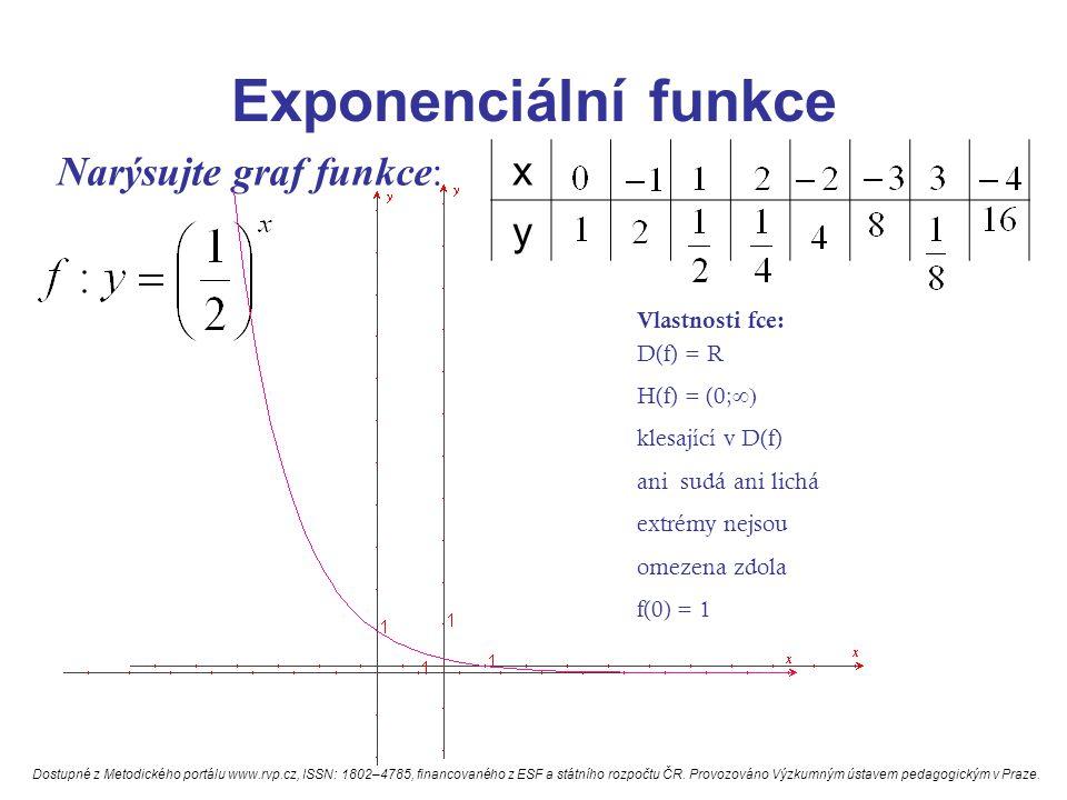 Exponenciální funkce Narýsujte graf funkce: x y Vlastnosti fce: D(f) = R H(f) = (0;  klesající v D(f) ani sudá ani lichá extrémy nejsou omezena zdol