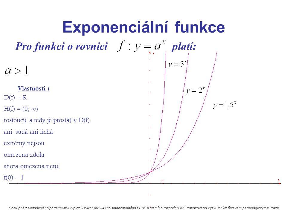 Exponenciální funkce Pro funkci o rovnici platí: Vlastnosti : D(f) = R H(f) = (0;  rostoucí( a tedy je prostá) v D(f) ani sudá ani lichá extrémy nejsou omezena zdola shora omezena není f(0) = 1 Dostupné z Metodického portálu www.rvp.cz, ISSN: 1802–4785, financovaného z ESF a státního rozpočtu ČR.
