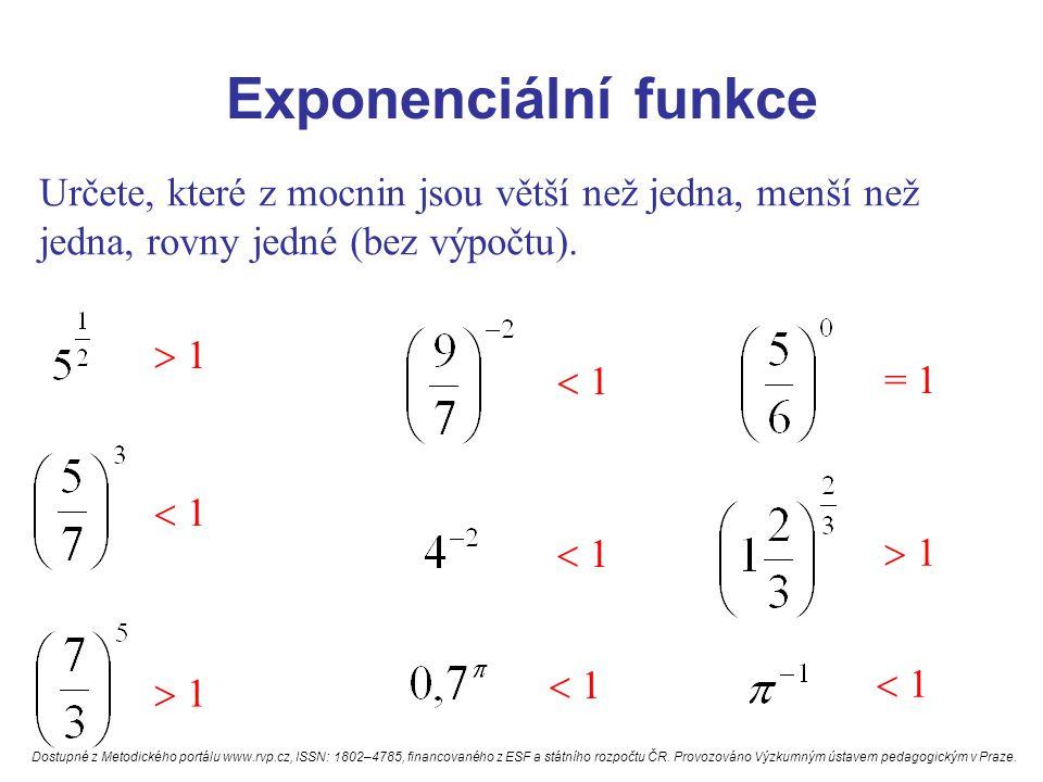 Exponenciální funkce Určete, které z mocnin jsou větší než jedna, menší než jedna, rovny jedné (bez výpočtu).  1  1  1  1 = 1  1  1 Dostupné z M