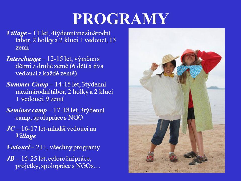 PROGRAMY Village – 11 let, 4týdenní mezinárodní tábor, 2 holky a 2 kluci + vedoucí, 13 zemí Interchange – 12-15 let, výměna s dětmi z druhé země (6 dětí a dva vedoucí z každé země) Summer Camp – 14-15 let, 3týdenní mezinárodní tábor, 2 holky a 2 kluci + vedoucí, 9 zemí Seminar camp – 17-18 let, 3týdenní camp, spolupráce s NGO JC – 16-17 let-mladší vedoucí na Village Vedoucí – 21+, všechny programy JB – 15-25 let, celoroční práce, projetky, spolupráce s NGOs…