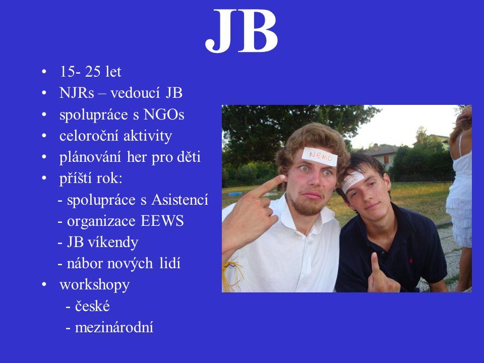 JB •15- 25 let •NJRs – vedoucí JB •spolupráce s NGOs •celoroční aktivity •plánování her pro děti •příští rok: - spolupráce s Asistencí - organizace EEWS - JB víkendy - nábor nových lidí •workshopy - české - mezinárodní