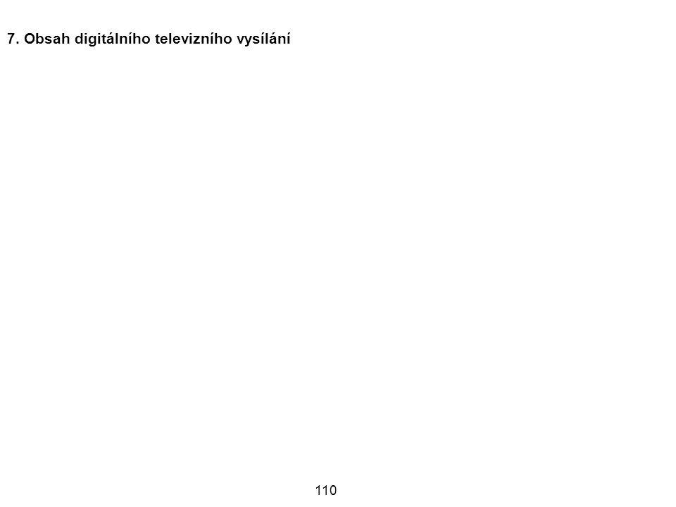 110 7. Obsah digitálního televizního vysílání