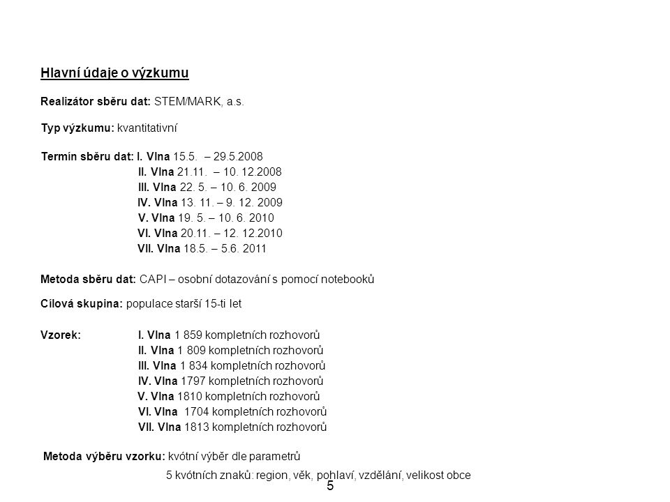 5 Hlavní údaje o výzkumu Realizátor sběru dat: STEM/MARK, a.s.