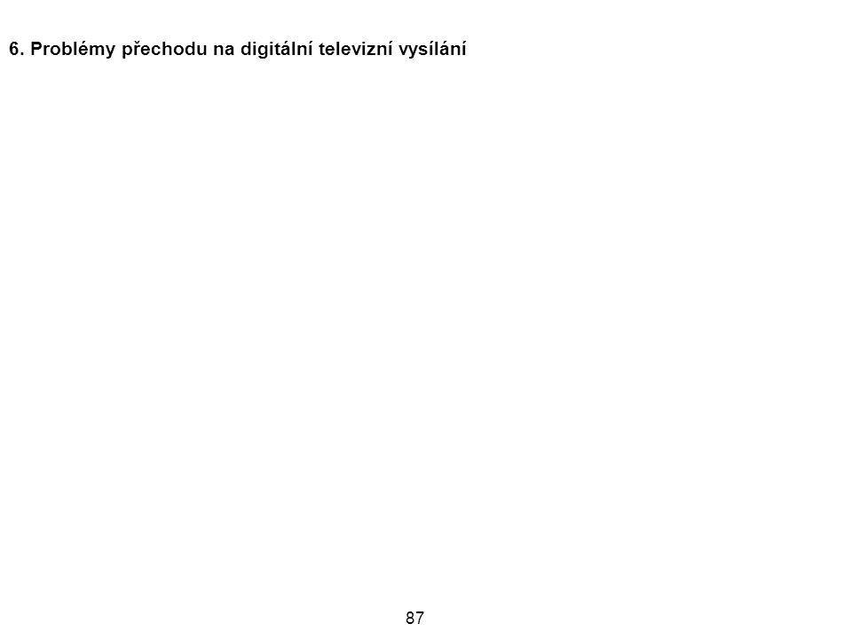87 6. Problémy přechodu na digitální televizní vysílání
