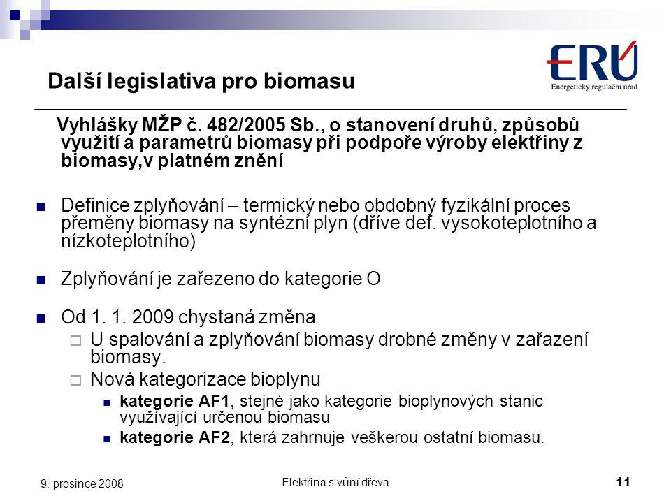 Elektřina s vůní dřeva11 9. prosince 2008 Další legislativa pro biomasu Vyhlášky MŽP č. 482/2005 Sb., o stanovení druhů, způsobů využití a parametrů b