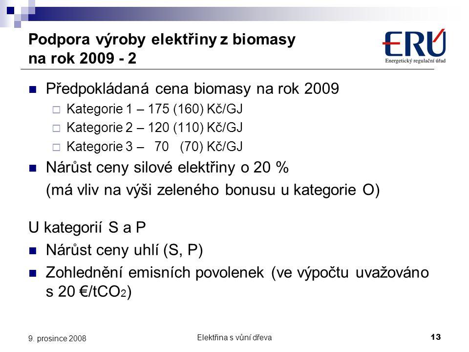Elektřina s vůní dřeva13 9. prosince 2008 Podpora výroby elektřiny z biomasy na rok 2009 - 2  Předpokládaná cena biomasy na rok 2009  Kategorie 1 –