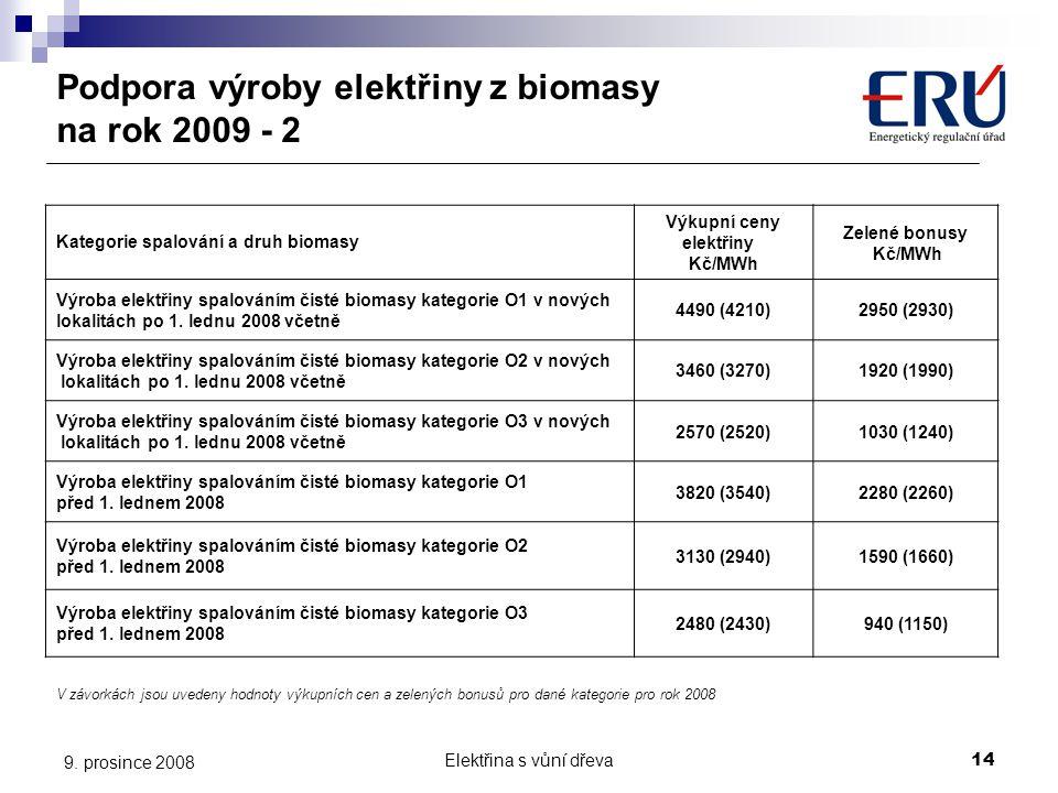 Elektřina s vůní dřeva14 9. prosince 2008 Podpora výroby elektřiny z biomasy na rok 2009 - 2 Kategorie spalování a druh biomasy Výkupní ceny elektřiny