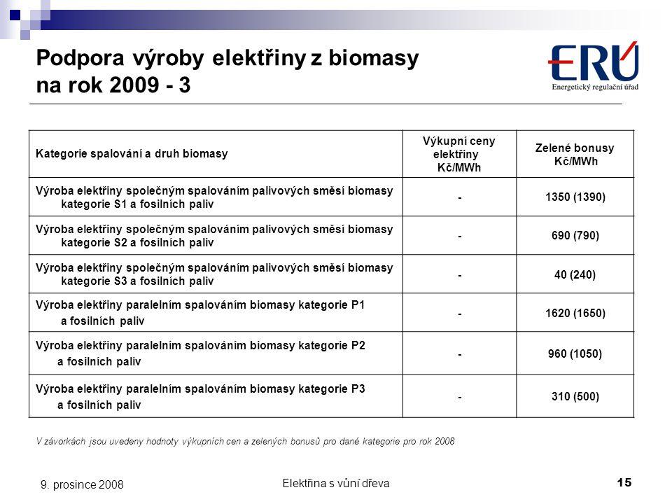 Elektřina s vůní dřeva15 9. prosince 2008 Podpora výroby elektřiny z biomasy na rok 2009 - 3 Kategorie spalování a druh biomasy Výkupní ceny elektřiny