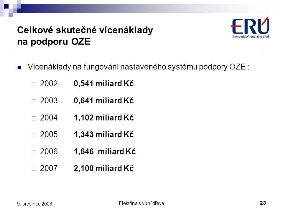 Elektřina s vůní dřeva23 9. prosince 2008 Celkové skutečné vícenáklady na podporu OZE  Vícenáklady na fungování nastaveného systému podpory OZE :  2