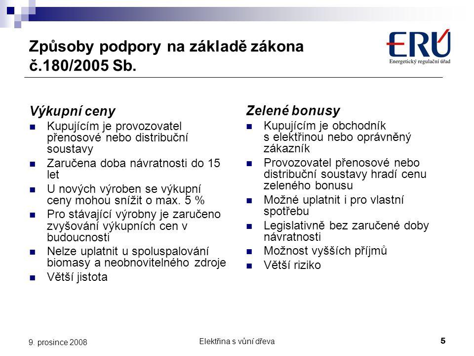 Elektřina s vůní dřeva5 9. prosince 2008 Způsoby podpory na základě zákona č.180/2005 Sb. Výkupní ceny  Kupujícím je provozovatel přenosové nebo dist