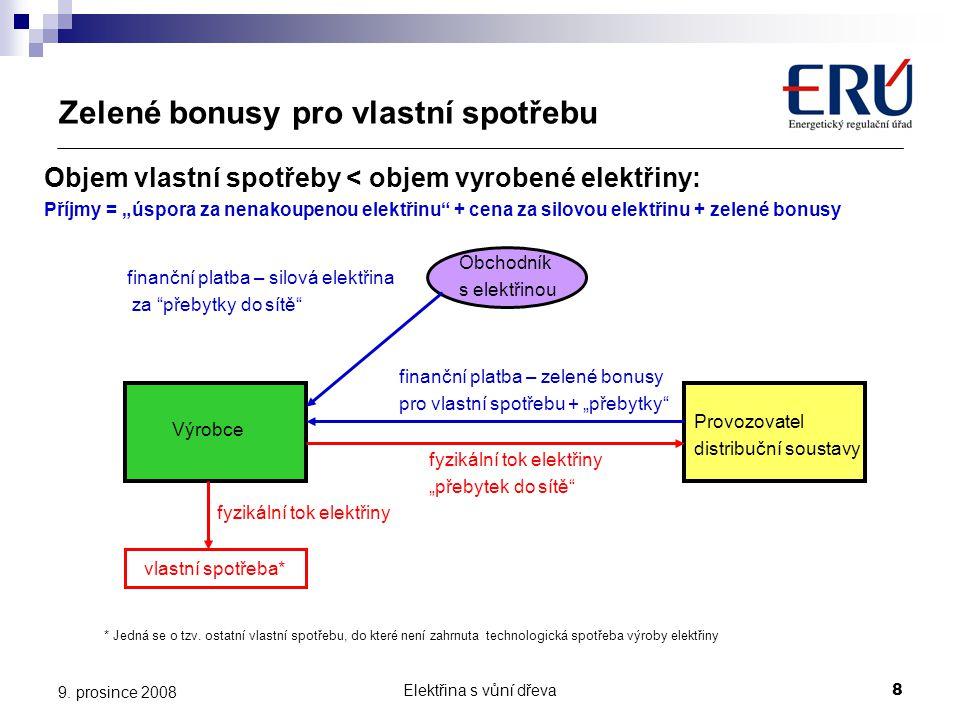 Elektřina s vůní dřeva9 9.prosince 2008 Technicko-ekonomické parametry Vyhláška ERÚ č.