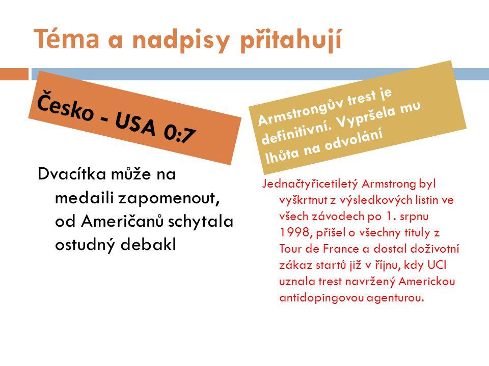 Téma a nadpisy přitahují Dvacítka může na medaili zapomenout, od Američanů schytala ostudný debakl Jednačtyřicetiletý Armstrong byl vyškrtnut z výsled