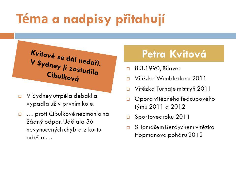 Zdroje citací  http://syndikat-novinaru.cz http://syndikat-novinaru.cz  http://www.sport.cz/ostatni/tenis/clanek/442054 http://www.sport.cz/ostatni/tenis/clanek/442054  http://www.sport.cz/hokej/reprezentace/clanek/4 41760 http://www.sport.cz/hokej/reprezentace/clanek/4 41760  http://www.sport.cz/ostatni/cyklistika/clanek/441 556 http://www.sport.cz/ostatni/cyklistika/clanek/441 556  http://cs.wikipedia.org/wiki/PetraKvitova http://cs.wikipedia.org/wiki/PetraKvitova