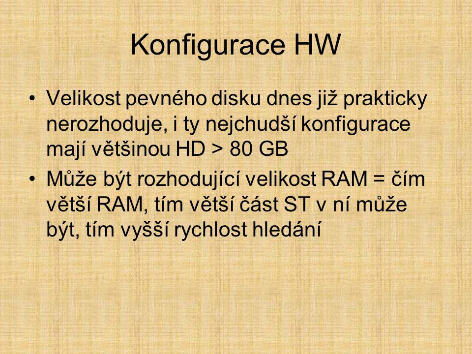 Konfigurace HW •Velikost pevného disku dnes již prakticky nerozhoduje, i ty nejchudší konfigurace mají většinou HD > 80 GB •Může být rozhodující velikost RAM = čím větší RAM, tím větší část ST v ní může být, tím vyšší rychlost hledání