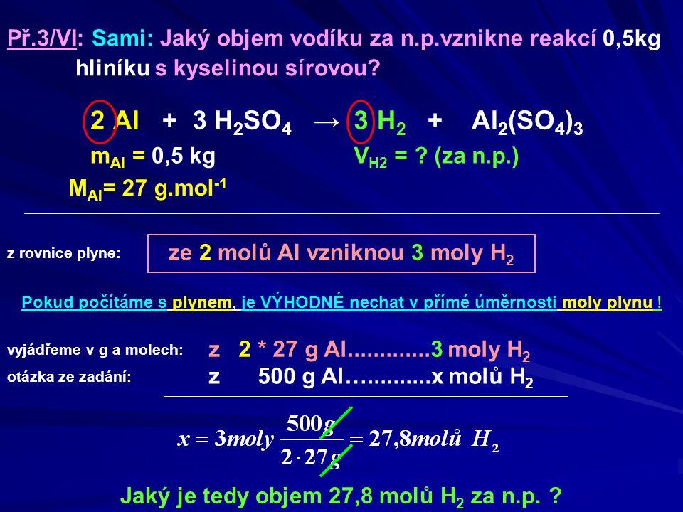 ze 2 molů Al vzniknou 3 moly H 2 m Al = 0,5 kg Jaký je tedy objem 27,8 molů H 2 za n.p. ? Př.3/VI: Sami: Jaký objem vodíku za n.p.vznikne reakcí 0,5kg