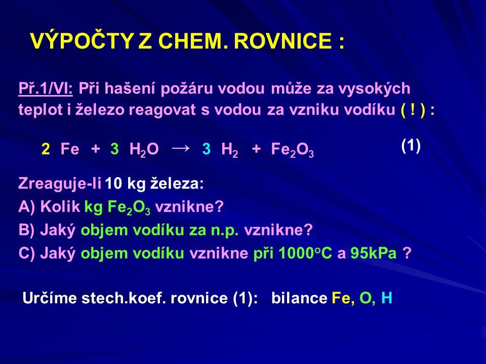 ze 2 molů Fe vznikne 1 mol Fe 2 O 3 m Fe = 10 kg M Fe2O3 = 159,6 g.mol -1 Zreagováním 10 kg Fe vznikne 14,3 kg Fe 2 O 3.