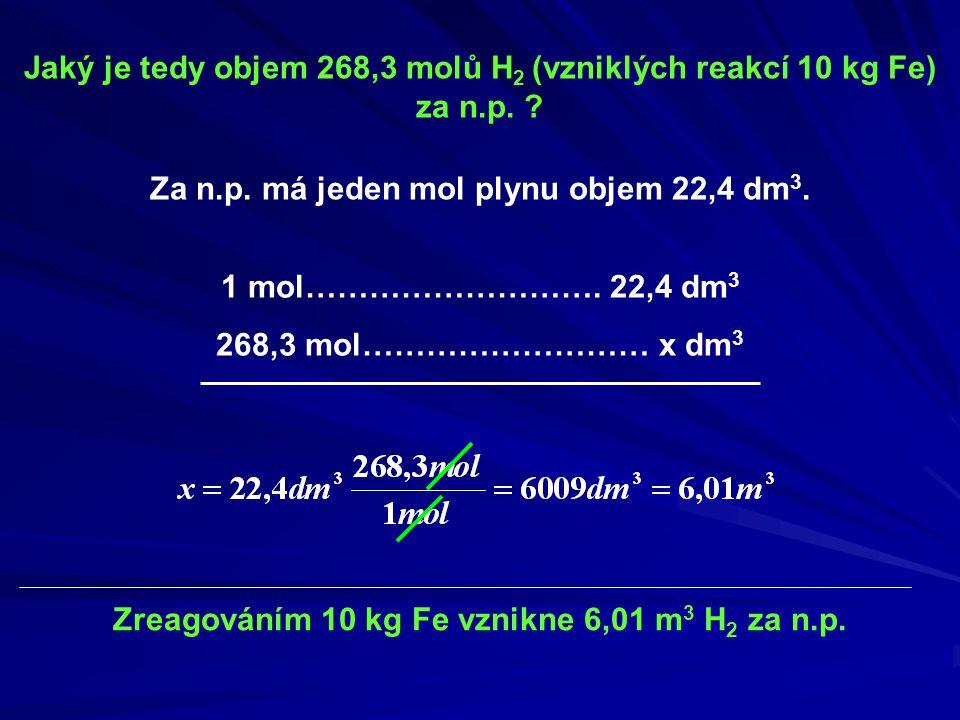 Jaký je tedy objem 268,3 molů H 2 (vzniklých reakcí 10 kg Fe) za n.p. ? Za n.p. má jeden mol plynu objem 22,4 dm 3. 1 mol………………………. 22,4 dm 3 268,3 mo